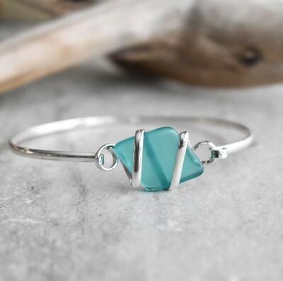 Sterling Silver wrapped Seaglass Bangle Bracelet