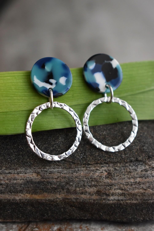 Sterling Silver and handmade resin post earrings