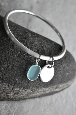 Seaglass Charm Matte Silver Bangle Bracelet