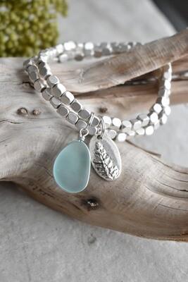 Seaglass Charm matte cube bead Bracelet