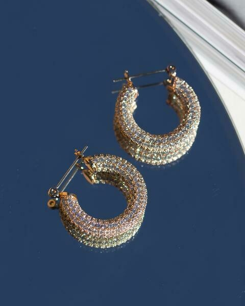 Gold Pave Baby Hoops