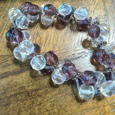 Crystal Clusters by Valerie Venee' Purple and Clear Glass Crystal Beads