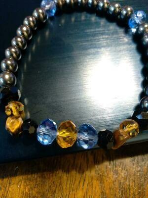 Stretch Gold Black and Blue Bracelet