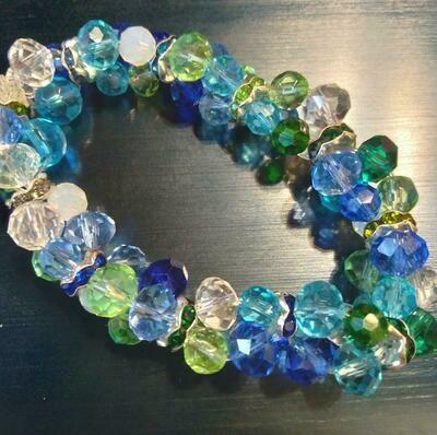 Seahawk color crystal stretch bracelet