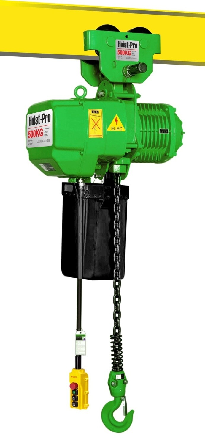 500Kg HOIST PRO 1 SPEED / 1 FALL / 380V WITH MANUAL TROLLEY