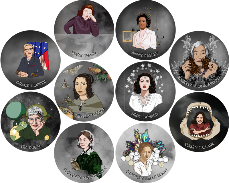 10 Historical Women in Science Stickers!