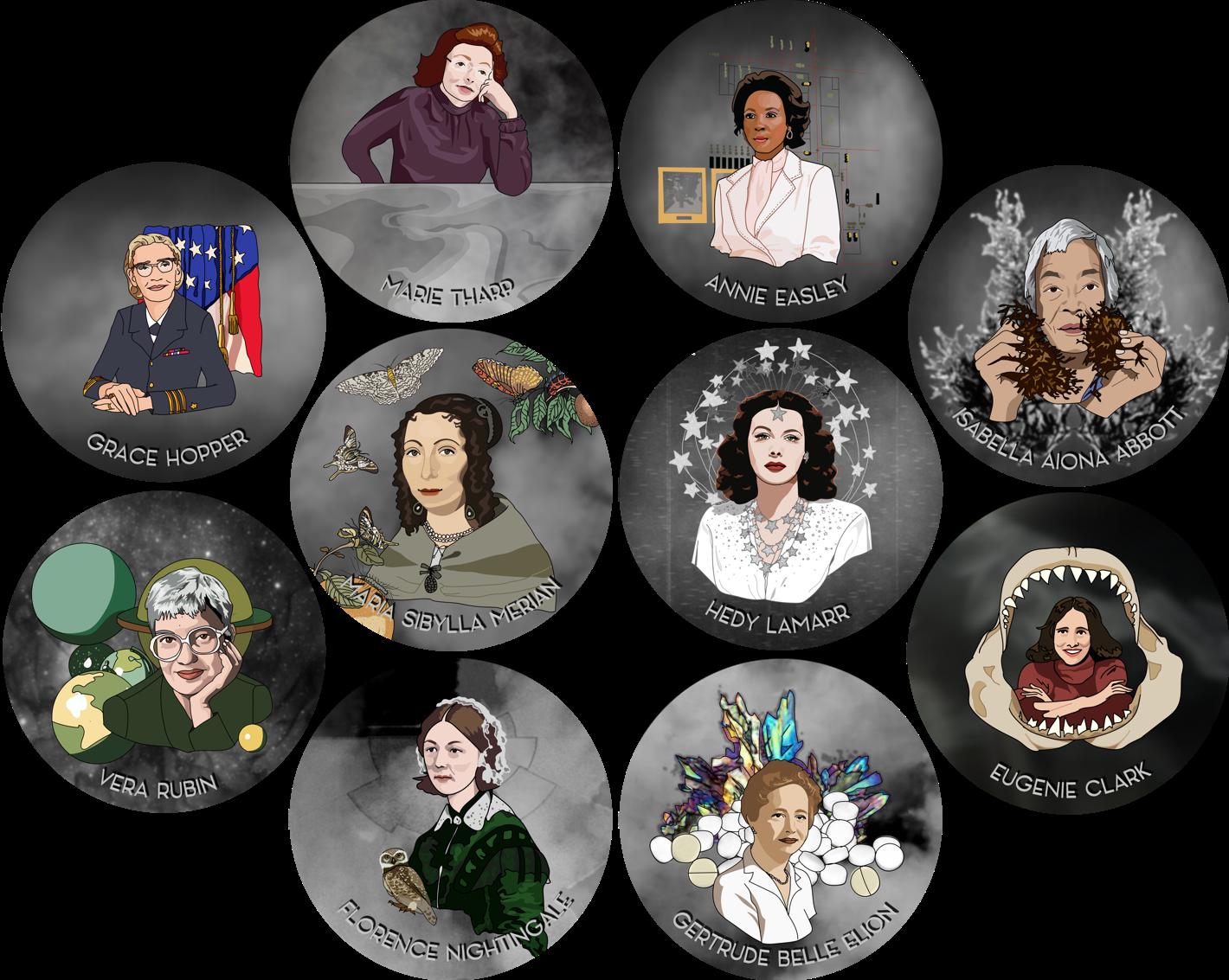1 Women in Science Sticker (pick any 1)!