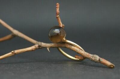 Roségold Ring mit Rauchquarzkugel