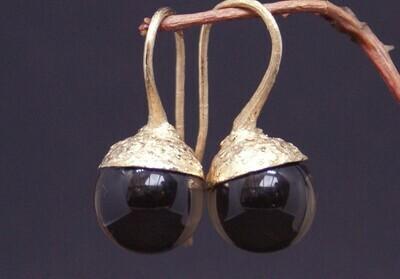 Ohrhänger aus Roségold mit Rauchquarzkugeln