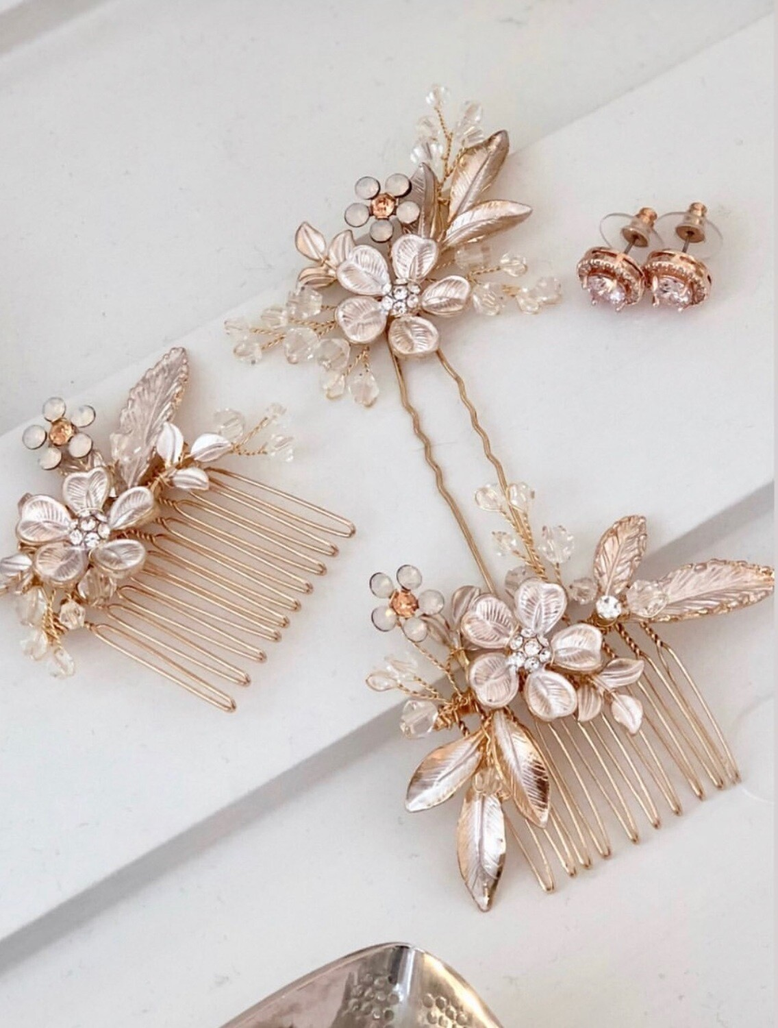 Rose Gold Hair Pins-  Floral