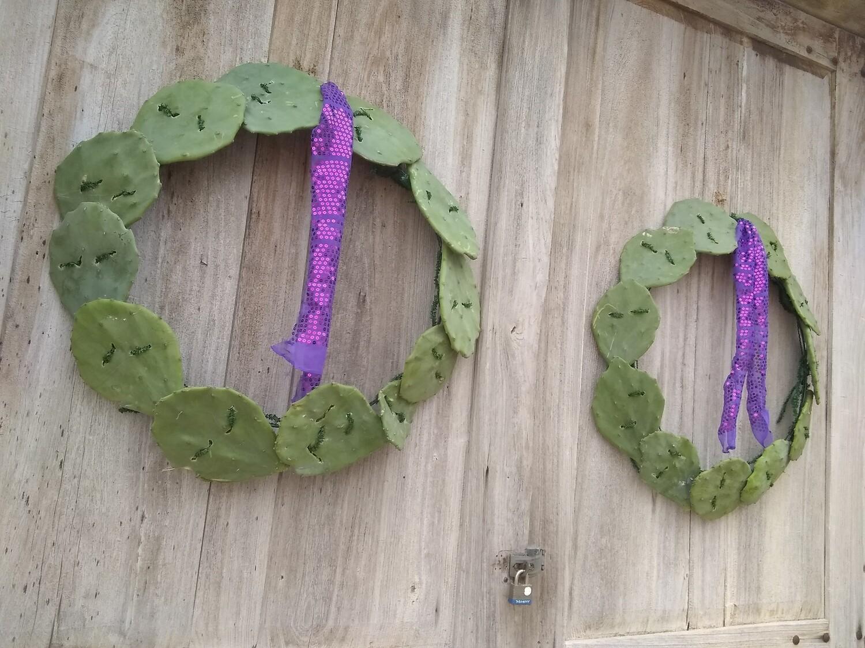 Evergreen Oppuntia Cactus Wreath