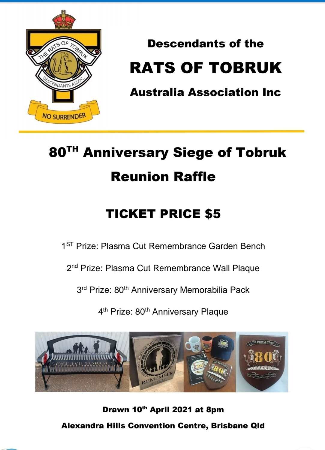 80th ANNIVERSARY RAFFLE $5 @ TICKET