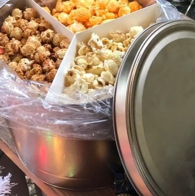 Gourmet Popcorn Tin (2 Gallon) 3 flavors