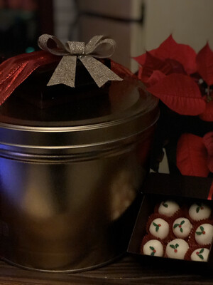 Holiday Popcorn Tin & Peanut Butter Truffles