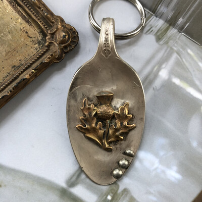 Celtic Thistle Rustic Keychain/charm