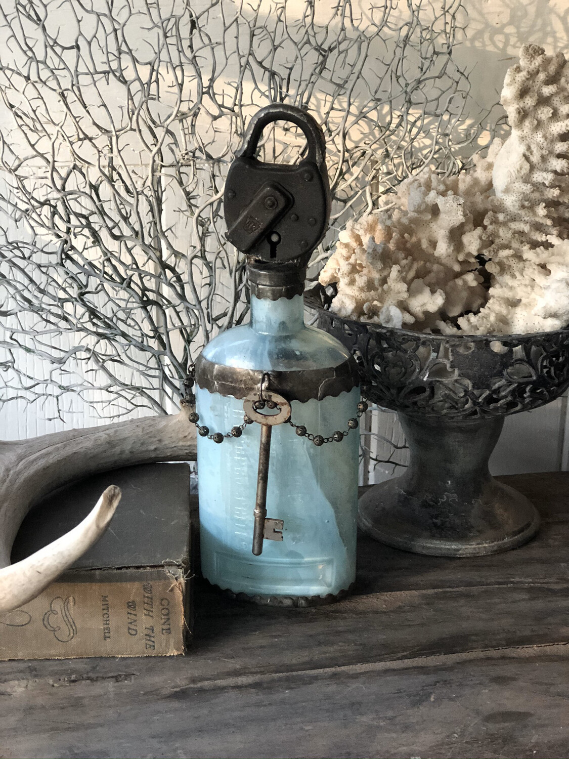 Large Antique Turquoise Bottle
