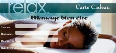 Carte cadeau massage réflexe podale de relaxation. Massage du pied jusqu'au dessus du genou.  Prix : 45 euros Durée : 45 min