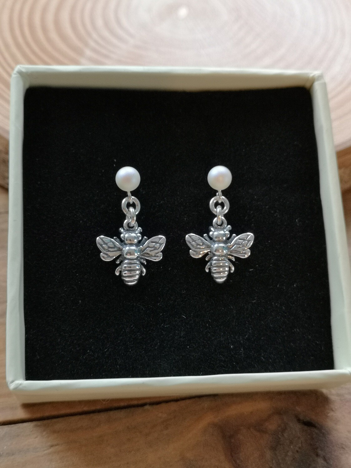 Pearl Earrings with Bumble Bees