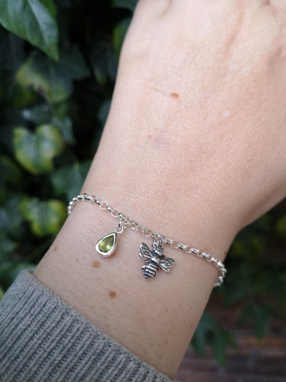 Bumblebee Charm Bracelet with Peridot gemstone