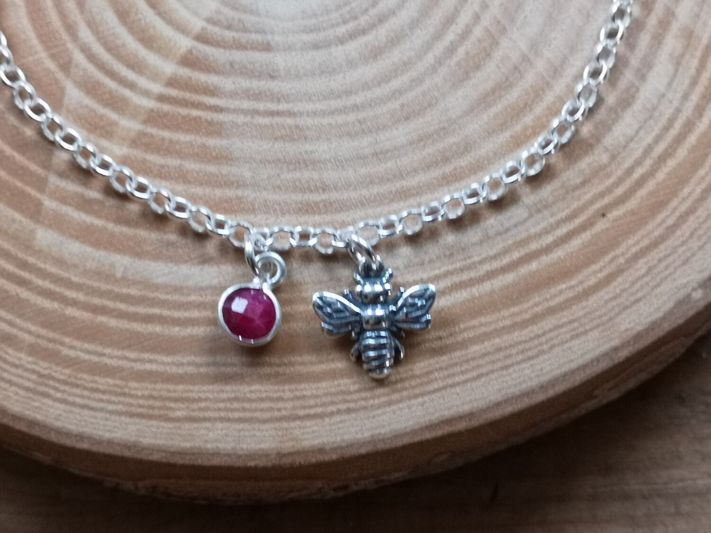 Bumblebee Charm Bracelet with Ruby gemstone
