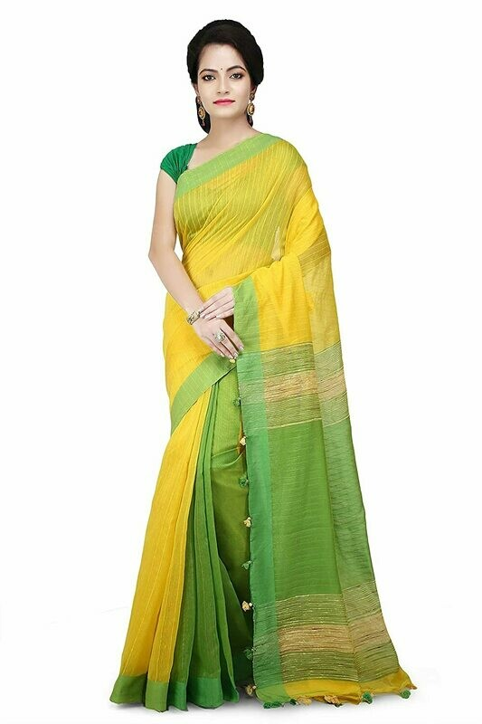 Misha Boutique Women's Yellow and Green Cotton Saree With Blouse Piece