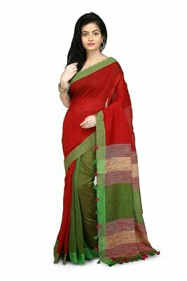 Misha Boutique Women's Red and Green Cotton Saree With Blouse Piece