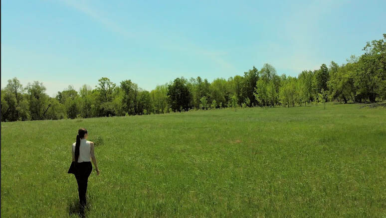 Young  woman walks away from you in a grassy field. (1)