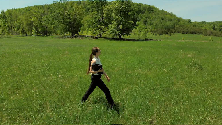 Young woman walking beside you in a Sunny Field holding an office book. (4)