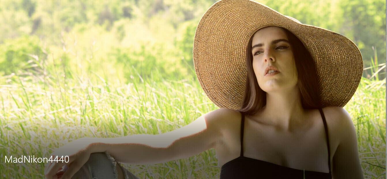 Woman in Sunhat in Field - 4