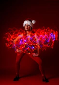 Pretty Girl with Santa Suit and Lights 2  162