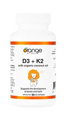D3+K2 Softgel with Organic Coconut Oil By Orange Naturals