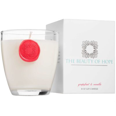 Grapefruit & Vanilla (8oz/3oz) Candle By The Beauty Of Hope