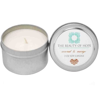 Coconut & Mango (3oz) Candle By The Beauty Of Hope