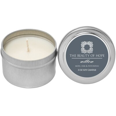 Willow (3oz) Candle By The Beauty Of Hope