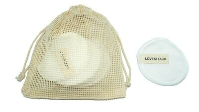 Reusable Organic Cotton Facial Rounds (White) by Love Attack