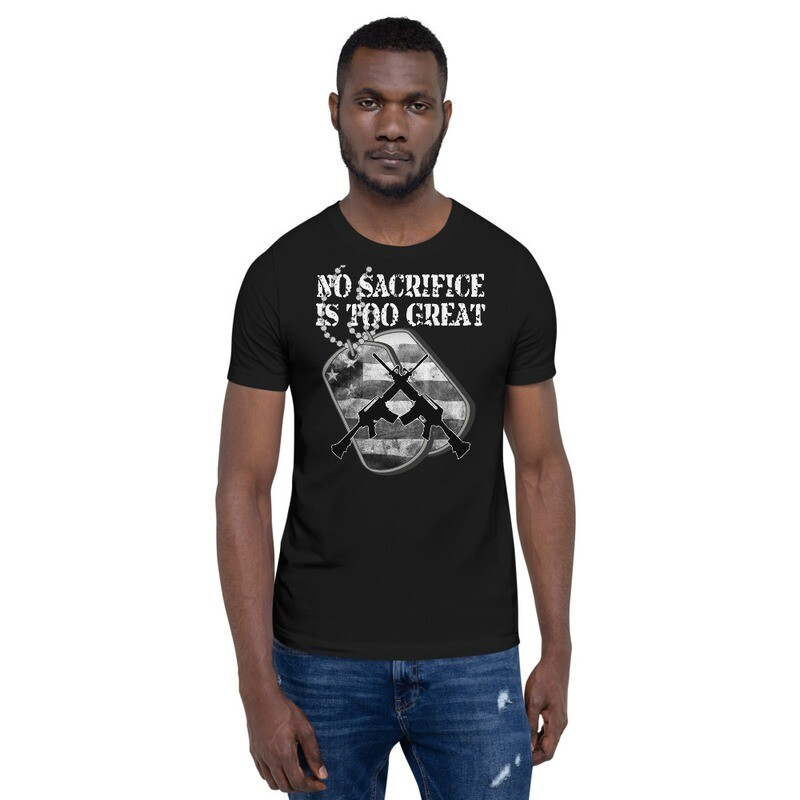 No Sacrifice is to Great Dog Tags B & W Short-Sleeve Unisex T-Shirt