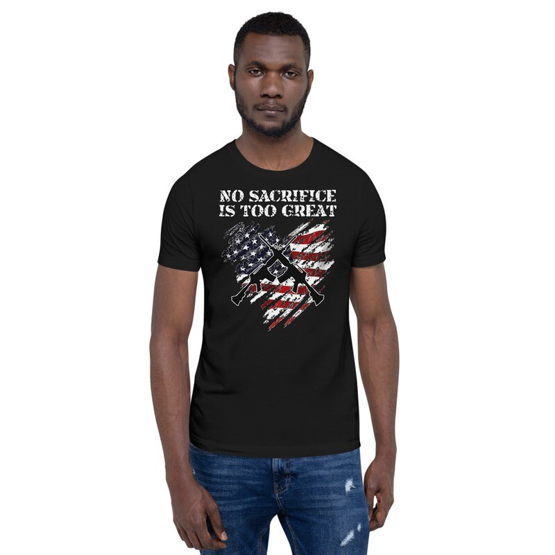 No Sacrifice is too Great, Crossed Rifles Tattered Heart USA Flag Short-Sleeve Unisex T-Shirt
