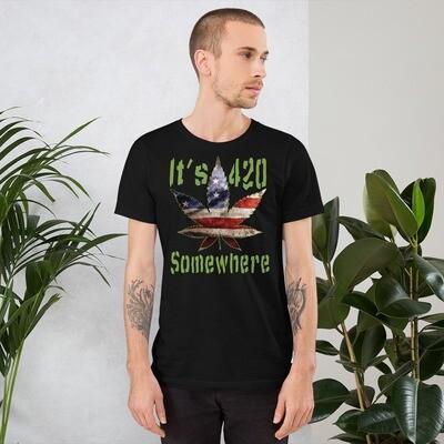 It's 420 Somewhere USA Flag Pot Leaf Short-Sleeve Unisex T-Shirt