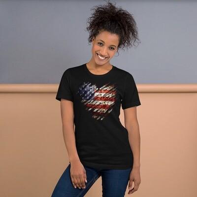 USA Flag Tattered Heart Short-Sleeve Unisex T-Shirt