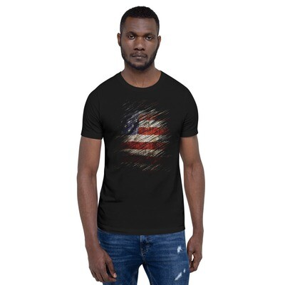 Scratched and Tattered USA Flag Short-Sleeve Unisex T-Shirt
