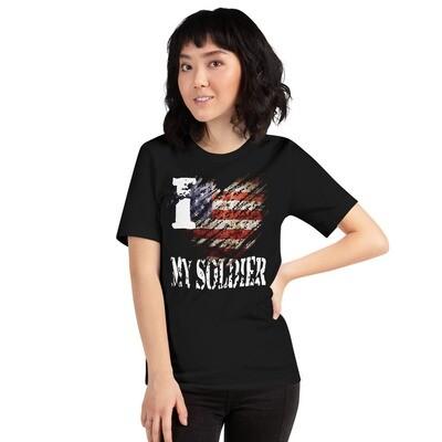 I Love My Soldier USA Tattered Flag Short-Sleeve Unisex T-Shirt