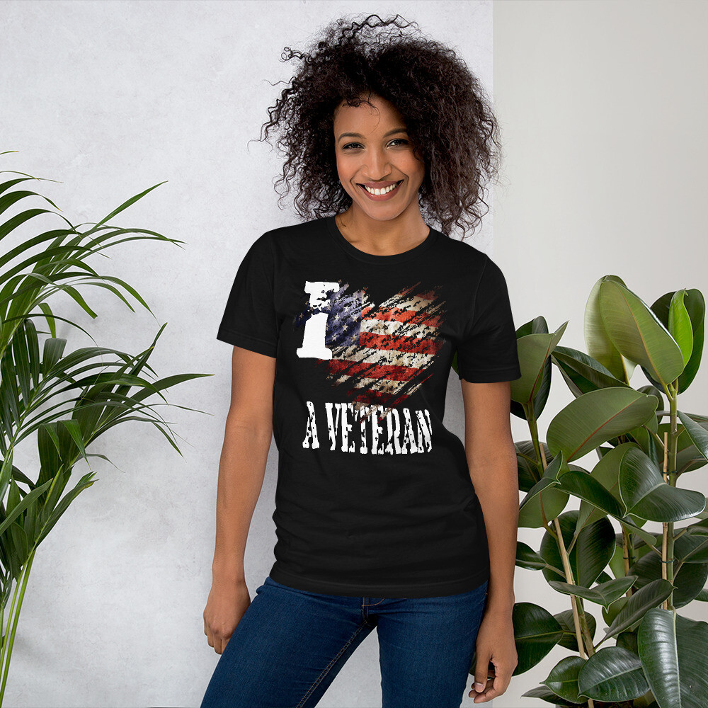 I Love My Veteran USA Tattered Flag Short-Sleeve Unisex T-Shirt