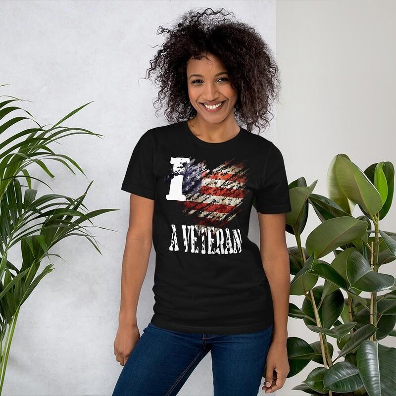 I Love My Veteran USA Tattered Flag Short-Sleeve Unisex T-Shirt