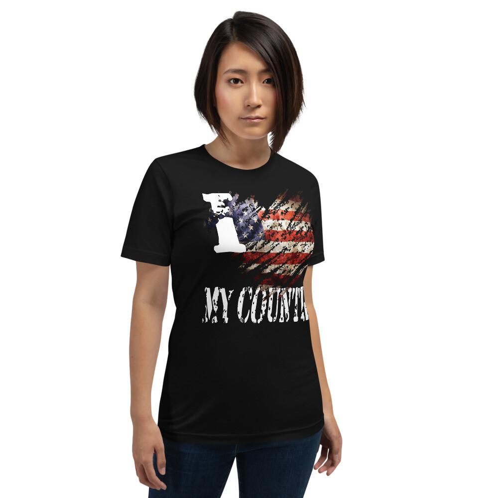 I Love My Country Tattered USA Flag Short-Sleeve Unisex T-Shirt