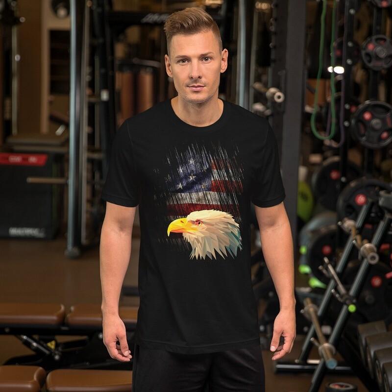 Bald Eagle Pride Tattered USA Flag Short-Sleeve Unisex T-Shirt
