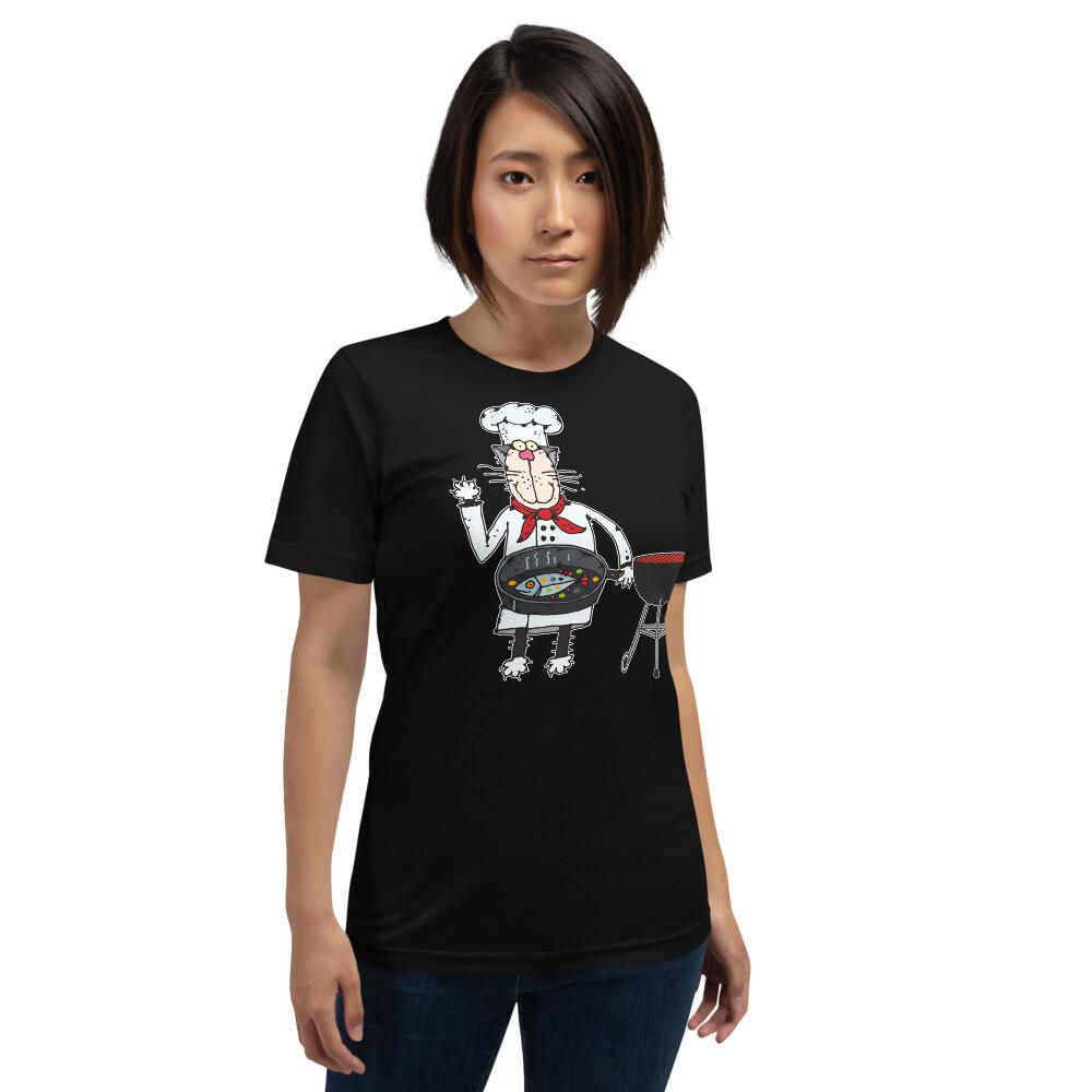 Grillin Cat Short-Sleeve Unisex T-Shirt