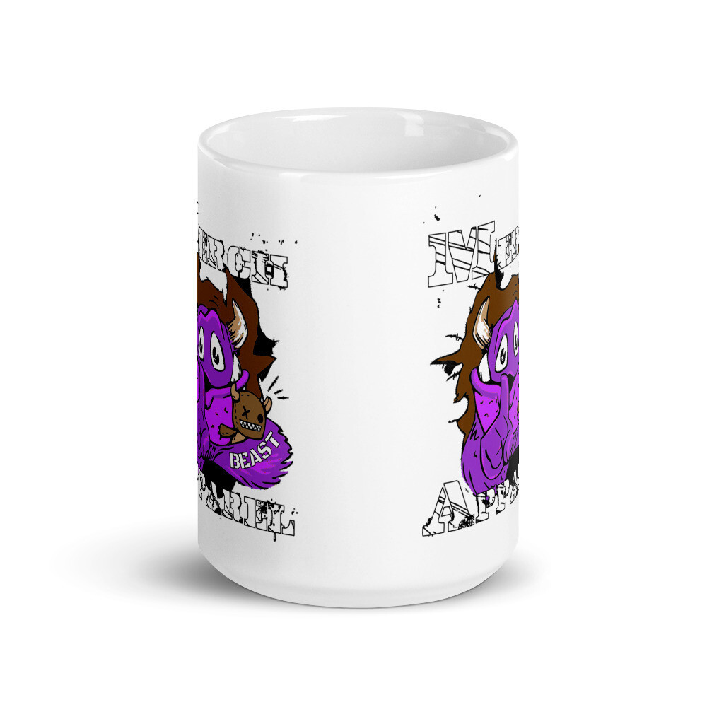 Merch Beast Apparel Partial Color Fan Gear.White glossy mug