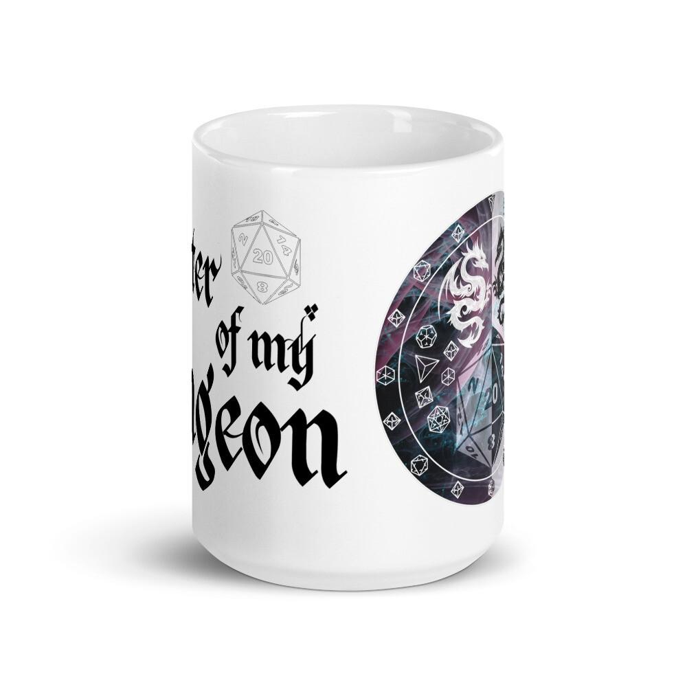 Master of My Dungeon DM Shield White glossy mug