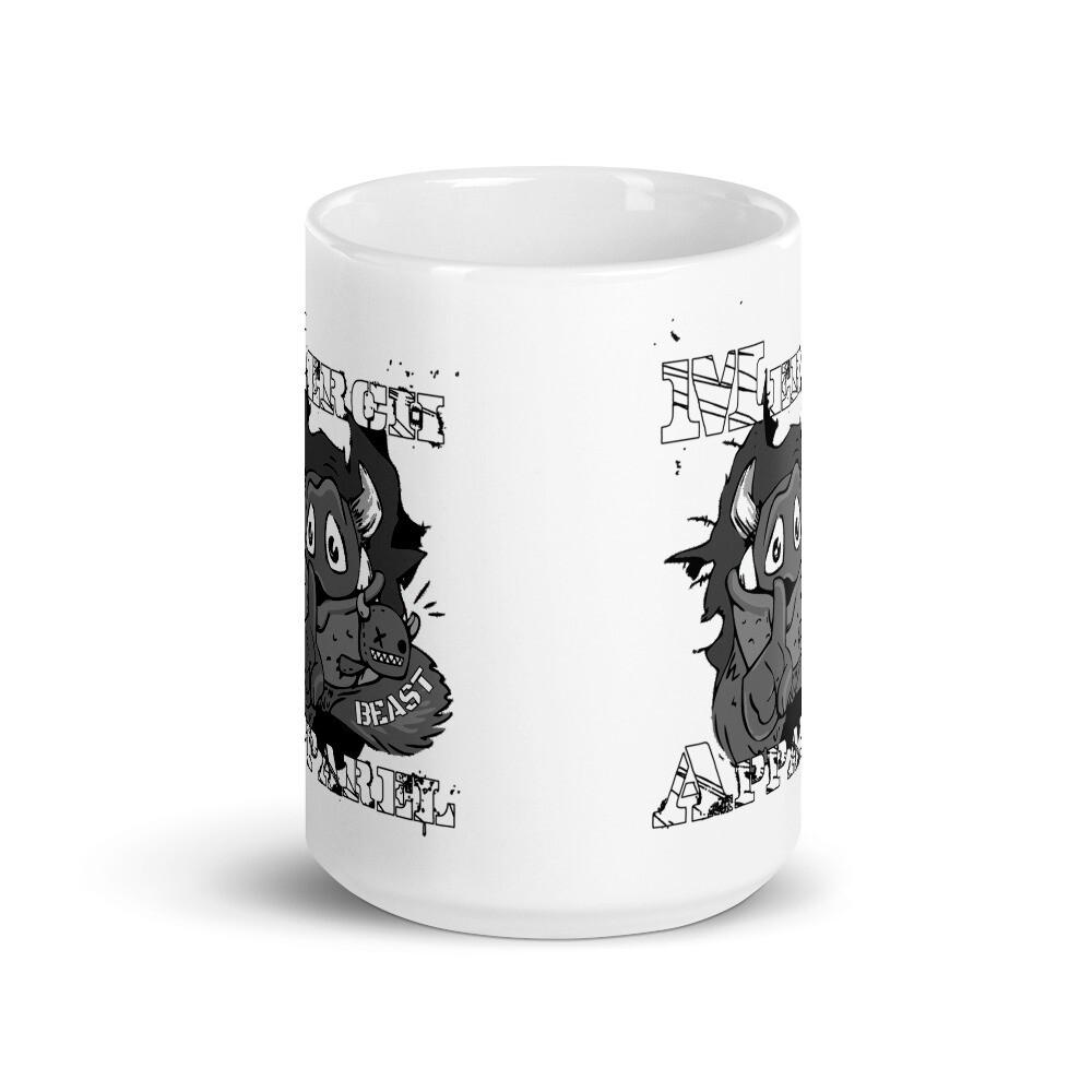 Merch Beast Apparel B&W Fan Gear White glossy mug