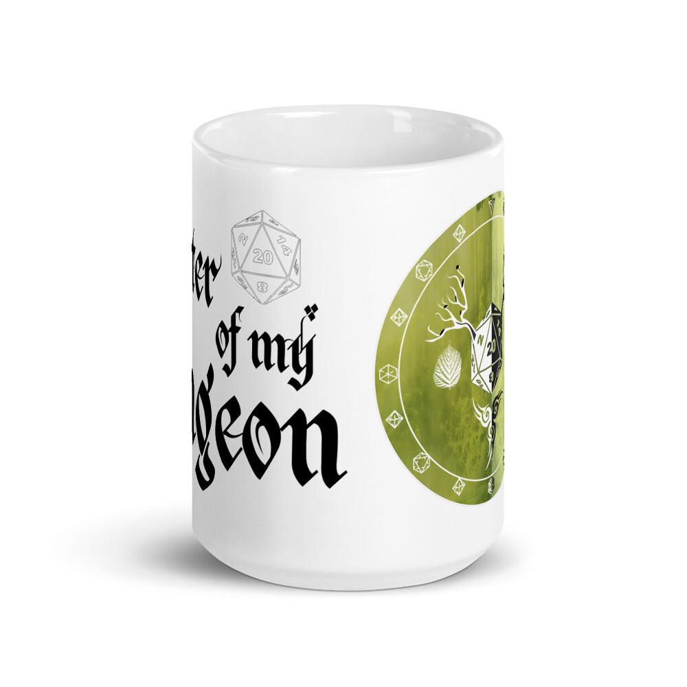 Master of My Dungeon Druid Shield White glossy mug